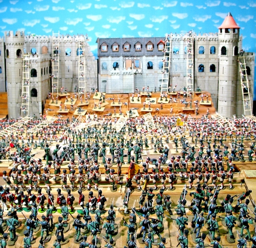 Platic toy soldiers with Playmobil castle sets