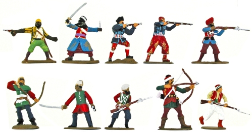 Plastic toy soldiers painted in Barzso style