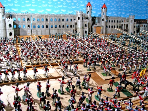 Plastic toy soldiers in large scale battle