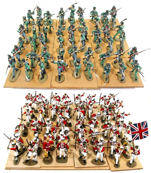 Plastic toy soldiers on 12 inch boards