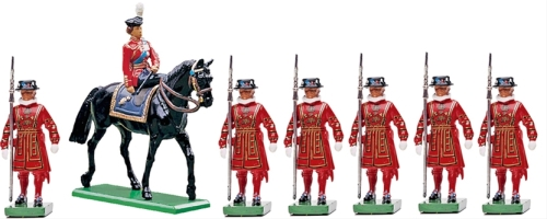 H.M. Queen Elizabeth with Beefeaters of the Tower